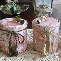 奶粉罐废物利用手工制作田园风布艺收纳