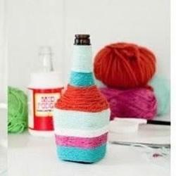 酱油瓶+毛线变废为宝DIY手工制作漂亮花瓶