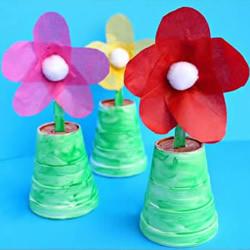 一次性塑料杯和塑料勺手工制作小花盆栽