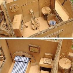 废弃纸箱制作的房屋模型 想住到里面去么