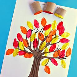 漂亮大树的画法 用卫生纸卷筒很容易!