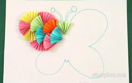 幼儿园手工卡纸鱼_折纸扇子拼贴画:可爱小鱼和美丽蝴蝶_手艺活网
