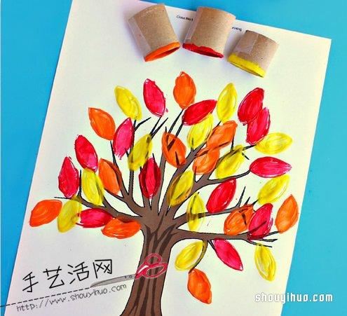 漂亮大树的画法 用卫生纸卷筒很容易! -  www.shouyihuo.com