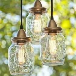 玻璃罐废物利用变灯罩 DIY漂亮吊灯的方法