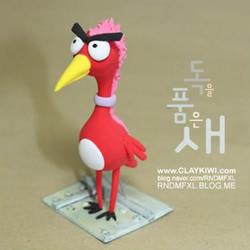 利用橡皮泥彩泥粘土制作愤怒的火烈鸟玩偶