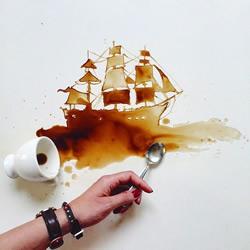 创意绘画:将翻倒的咖啡变成涂鸦艺术