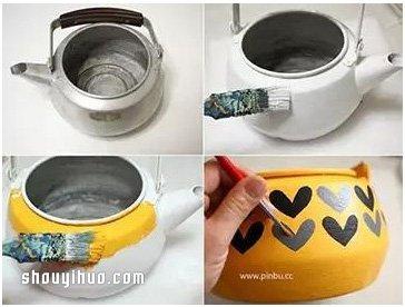 壞掉的燒水壺廢物利用DIY製作花盆的方法