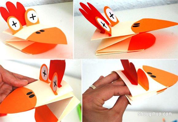 儿童手工制作卡纸面具_好玩动物手偶的制作方法 指偶手工叠法图解_手艺活网