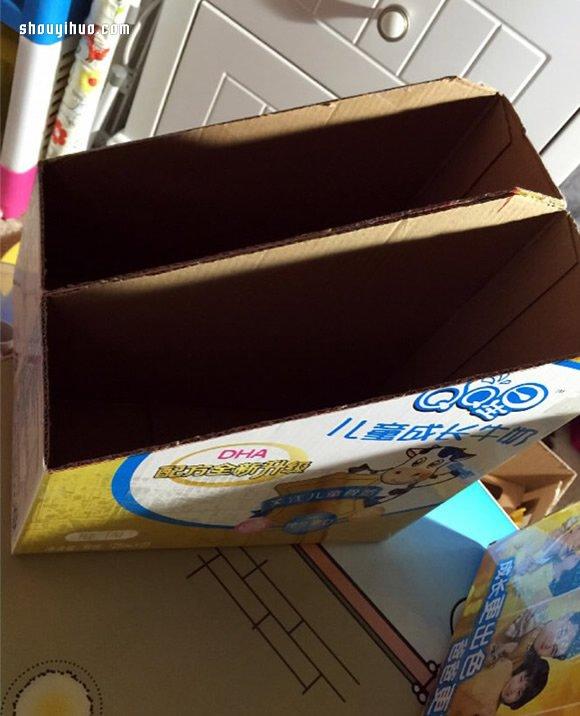 廢棄牛奶箱廢物利用DIY製作收納架的方法