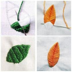 简单手工刺绣的绣法 包括树叶和中国风花