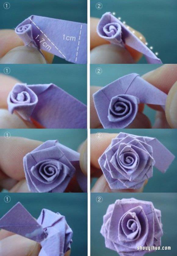 手工摺紙玫瑰花的折法圖解教程