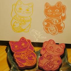 可爱招财猫橡皮图章图案 来招福招财吧!