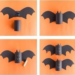 儿童手工制作蝙蝠 用卫生纸卷筒和卡纸做