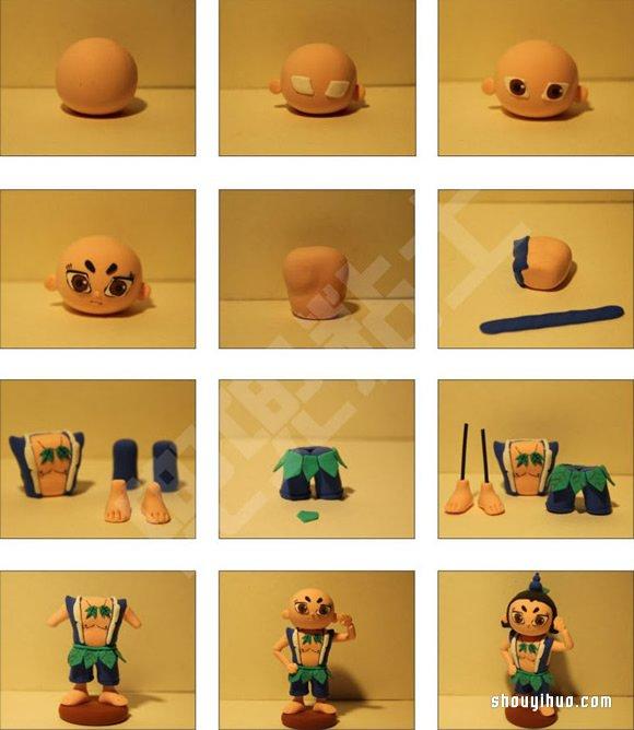 勇敢的葫蘆兄弟葫蘆娃粘土DIY製作圖解教程