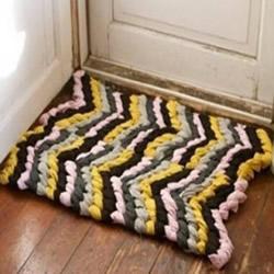 旧衣服/布条利用 手工编织漂亮地毯的步