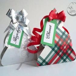 折纸圣诞树包装盒的折法带有展开图