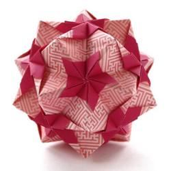 一款喜庆的折纸花球的折法图解教程