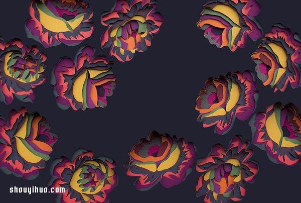彩色卡纸层层堆叠 DIY梦幻般的纸雕艺术 -  www.shouyihuo.com
