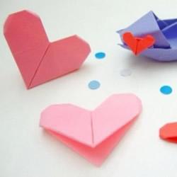 简单手工折纸心的方法 爱心的折法图解步