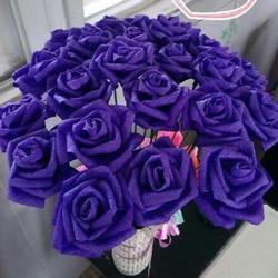 皱纹纸玫瑰花的折法 玫瑰花用皱纹纸折图