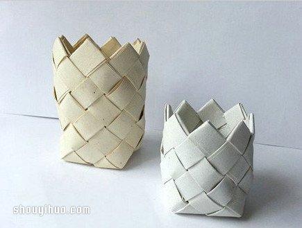 三角折纸笔筒_纸条编收纳筒/笔筒的方法详细步骤图_手艺活网