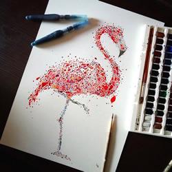 手绘一个个小点 组合成无比细腻的动物图案