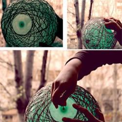 气球来帮忙,用麻绳DIY制作文艺范儿鸟巢灯罩