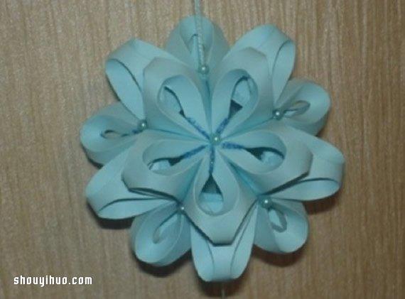 立体花球折纸步骤图解 卡纸折花球的折法教程 -  www.shouyihuo.com