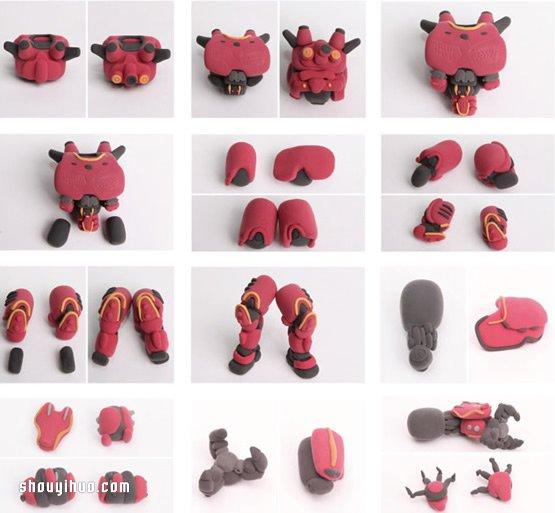 粘土製作機器人模型暴風赤紅手工DIY圖解教程