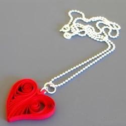 衍纸爱心项链的制作方法 心形项链坠子