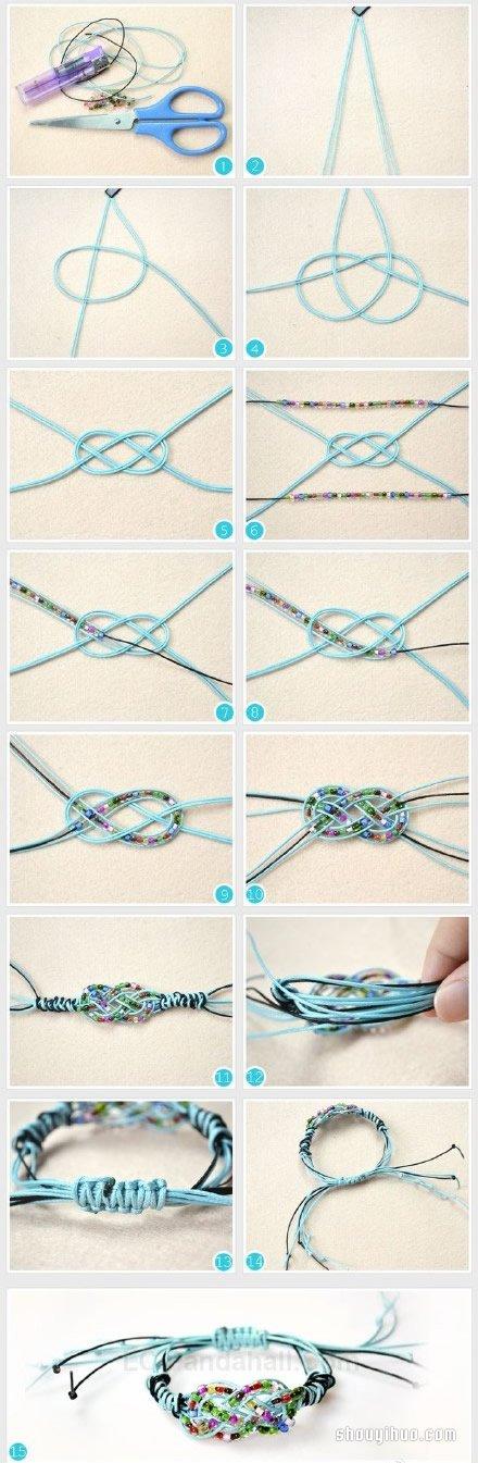 精美手繩手工編法圖解 帶串珠手繩的編法教程