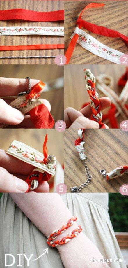 民族風手鏈的編法 用布條和金屬鏈來DIY製作
