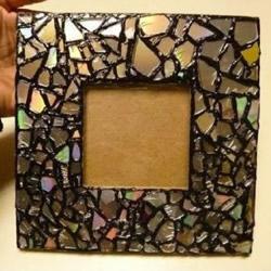 碎玻璃废物利用小制作 DIY马赛克风相框的教程