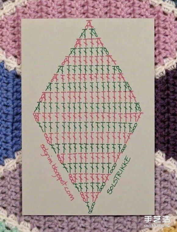 菱形花紋毯子鉤針手工編織花樣圖解教程