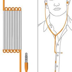 折合收纳的耳机线设计 不用为耳机线打结