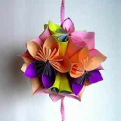 超美折纸花球的折法图解,相对还算简单的哦
