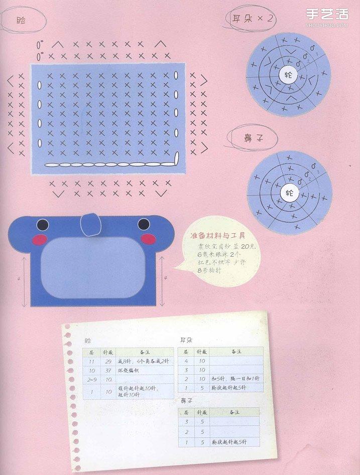 鉤針編織小象證件套的方法步驟圖解教程