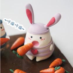可爱兔子玩偶粘土DIY 爱情监狱兔粘土制作