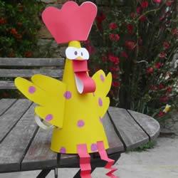 剪纸小公鸡玩具制作 幼儿小公鸡玩具小手工