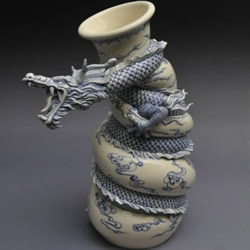 龙形陶瓷瓶DIY制作过程 中国龙盘旋陶瓷瓶制作
