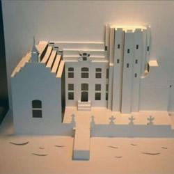 8个能折出建筑物的立体贺卡图纸模板制作