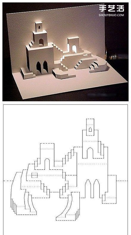 28号制作图_8个能折出建筑物的立体贺卡图纸模板制作图解_手艺活网