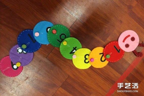 幼儿不织布毛毛虫玩具手工制作图解教程 -  www.shouyihuo.com