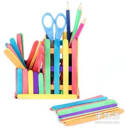 简单的儿童雪糕棍废物利用手工小制作 -www.shouyihuo.com