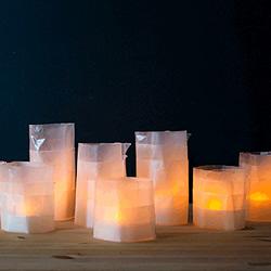 利用蜡纸和电子灯 手工DIY制作浪漫烛台