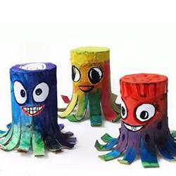 卫生纸卷筒手工制作章鱼玩具风铃的方法