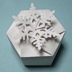 圣诞节礼盒包装制作 漂亮雪花纸盒的折法