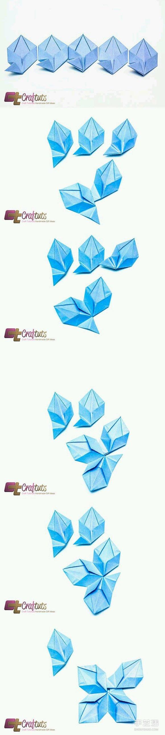折纸五角星花图解 五角星花的折法详细步骤 -  www.shouyihuo.com