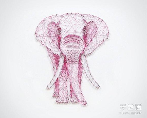 创意立体装饰画手工制作 用线在钉子上拉出图案 -www.shouyihuo.com