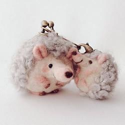 刺猬羊毛毡口金包 快用零钱喂饱它圆滚身躯